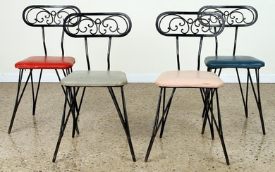 SET OF FOUR IRON CHAIRS CIRCA 1950