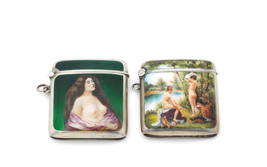 Two erotic silver and enamel vesta cases