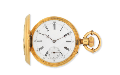 Humbert Ramuz, Chaux-de-Fonds. An 18K gold keyless wind full hunter pocket watch