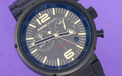 MomoDesign - Chronograph Watch EVO Brown Dial Black PVD Stainless Steel Bracelet Swiss Made - MD1012BR-30 - Men - Brand New