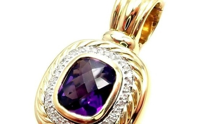 David Yurman DY Cable 18k Yellow Gold Amethyst Diamond