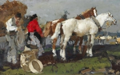 ALESSIO ISUPOFF Landscape with horse and paesters. .