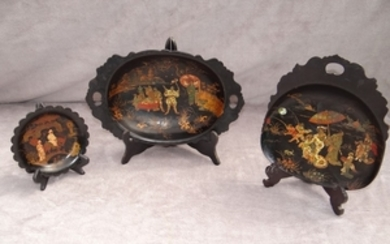 3 PC. LOT OF ORIENTAL LACQUERED PAPIER MACHE BOWLS