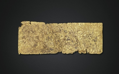 A GOLD SHEET BELT PLAQUE OVERLAY, HAN DYNASTY (206 BC-AD 220)