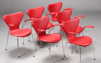 Arne Jacobsen. 'Series 7' lounge chairs/stacking chairs, Model 3207 (6)