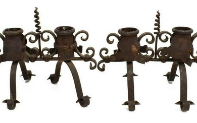 (2) FRENCH SCROLLED WROUGHT IRON CANDELABRAS