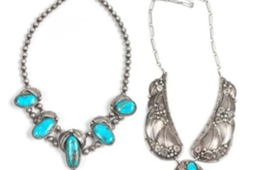 Two Southwestern Silver and Turquoise Necklaces