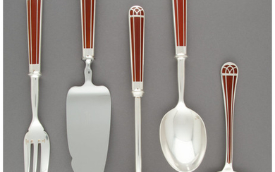 A Ten-Piece Group of Christofle Talisman Pattern Silver-Plated and Enamel Flatware Servers (designed 1995)