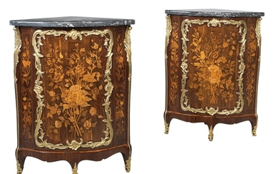 A pair of superb French Louis XV corner cabinets,