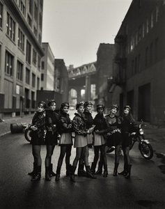 PETER LINDBERGH | 'THE WILD ONES: CINDY CRAWFORD, TATJANA PATITZ, HELENA CHRISTENSEN, LINDA EVANGELISTA, CLAUDIA SCHIFFER, NAOMI CAMPBELL, KAREN MULDER & STEPHANIE SEYMOUR', BROOKLYN, FOR AMERICAN VOGUE, MAY 1991