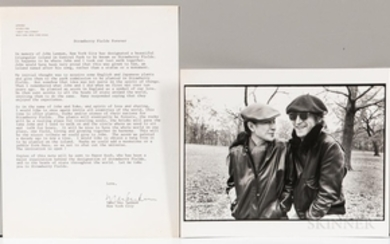 Ono, Yoko (b. 1933) Signed Correspondence Sent to President Ronald Reagan Regarding Establishing Strawberry Fields in Central Park in M