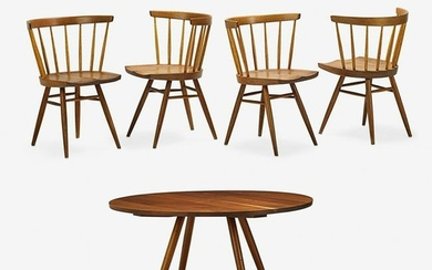 GEORGE NAKASHIMA Dining table and four chairs