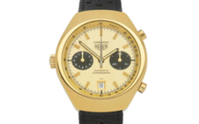 Heuer. A gold plated and stainless steel automatic calendar chronograph wristwatch