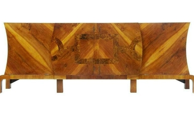 LARGE ART DECO WALNUT AND ROOT SIDEBOARD