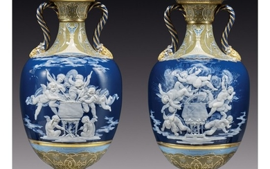 A PAIR OF MINTONS PÂTE-SUR-PÂTE PEACOCK-BLUE-GROUND VASES, 'BREWING MISCHIEF' AND 'EXPLOSION' CIRCA 1883