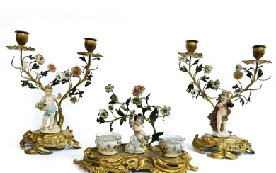 19th C. Meissen Figural Inkwell & Candle Sticks.