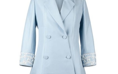 Christian Dior Coat Baby Blue Double Breasted White