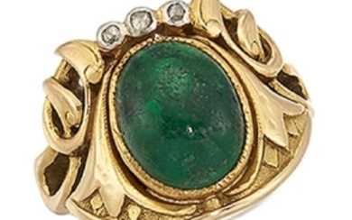 An emerald and diamond ring, the central...