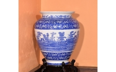 A large Copeland Spode blue and white printed pottery floor vase