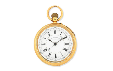 A. Livingstone, Manchester. An 18K gold keyless wind open face pocket watch with start/stop seconds