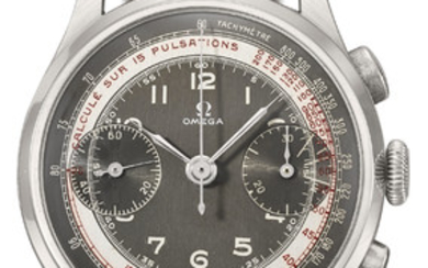 Omega. A very fine, large and attractive stainless steel chronograph wristwatch with two-tone slate-grey and white dial and pulsometre scale, SIGNED OMEGA, REF. CK 987, MOVEMENT NO. 10'389'160, CASE NO. 987/2, MANUFACTURED IN 1947