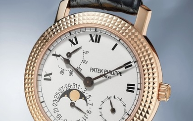 Patek Philippe, Ref. 5057R A rare and fine limited edition pink gold wristwatch with date, power reserve and moonphases