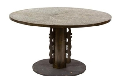 A Philip and Kelvin LaVerne Bronze Clad Wood Circular Table