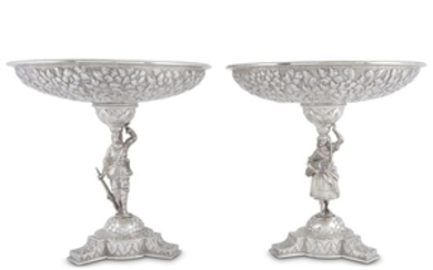 """Pair of sterling silver figural tazze """"G. W...& Co.,""""..."""