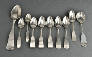 American Coin Silver Spoons, Group of 10