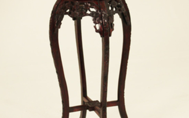 CHINESE BLACK WOOD MARBLE TOP STAND