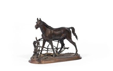 After Pierre Jules Mene (French 1810 -1879): a late 19th century Coalbrookdale patinated bronze and cast iron model of Cheval à la Barrière No 1 (Djinn)
