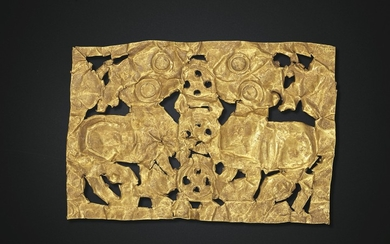 AN OPENWORK GOLD SHEET APPLIQUÉ, EASTERN HAN-EARLY SIX DYNASTIES PERIOD, 1ST-3RD CENTURY AD