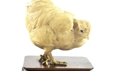 A Japanese Ivory Model of a Chicken, Meiji period, naturalistically...