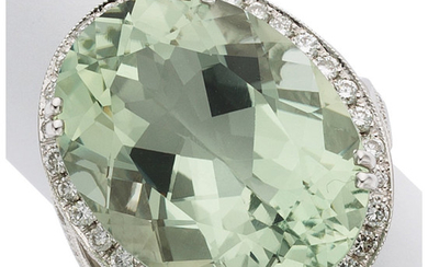 Prasiolite Quartz, Diamond, White Gold Ring The ring features...