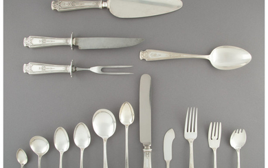 A One Hundred and Twenty-Six-Piece Whiting Manufacturing Company Mandarin Pattern Silver Partial Flatware Service for Twelve (designed 1916)