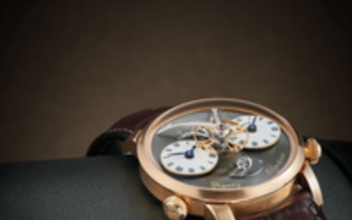 MB&F. A Rare limited Edition Red Gold dual time Wristwatch with 3D movement and Vertical Power Reserve