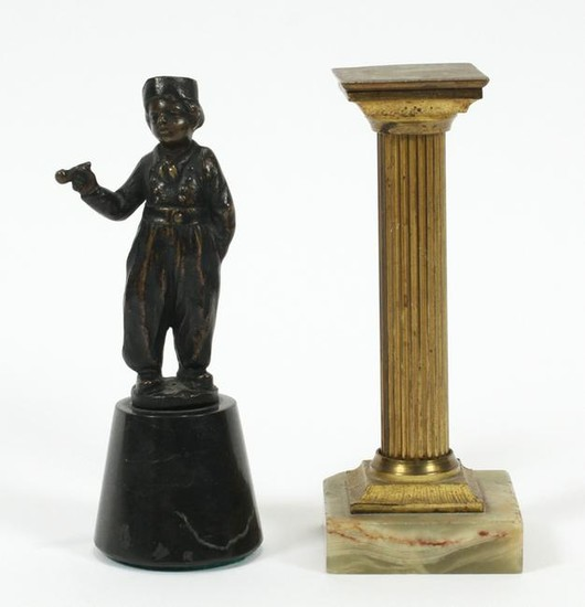 BRONZE MINIATURE DUTCH BOY & METAL PEDESTAL