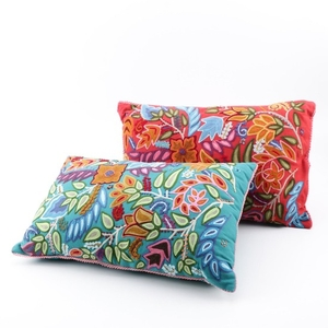 Lot Art | Burgundy and Floral Throw Pillows