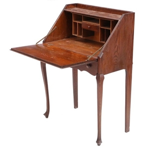 Lot Art Vintage Oak Secretary Desk