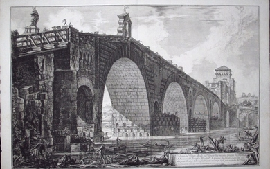 Piranesi, Giovanni: PONTE MOLLE ON THE RIVER TEVERE, Year 1762.