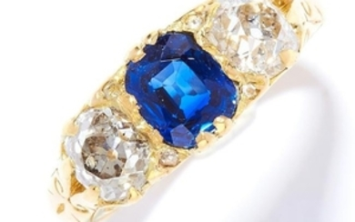 ANTIQUE SAPPHIRE AND DIAMOND THREE STONE RING in 18ct