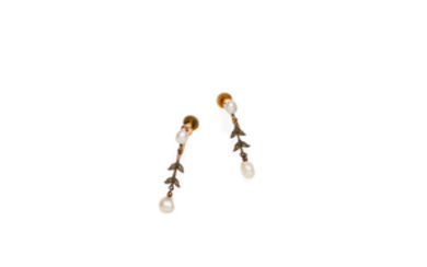 A pearl and diamond necklace and earring suite