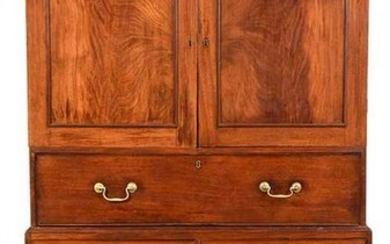 Rare Virginia Chippendale Mahogany Linen Press