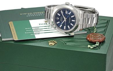 ROLEX. A STAINLESS STEEL AUTOMATIC WRISTWATCH WITH SWEEP CENTRE SECONDS, DATE, INTERNATIONAL GUARANTEE AND BRACELET, SIGNED ROLEX, OYSTER PERPETUAL, DATEJUST, DATEJUST II MODEL, REF. 116300, CASE NO. 988M15Z7, CIRCA 2013