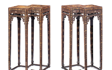 A rare pair of black lacquer gilt-decorated double-lozenge stands