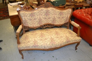 19th Century French carved walnut and floral upholstered two...