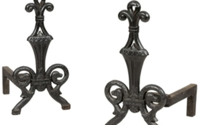 Andirons with Dog heads - Pair