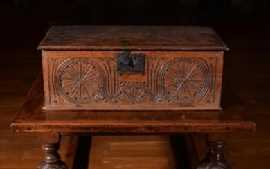 A Charles II carved oak box, circ 1670