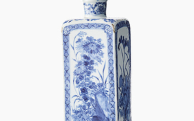 A Chinese blue and white flask 'Four Seasons' and a cover