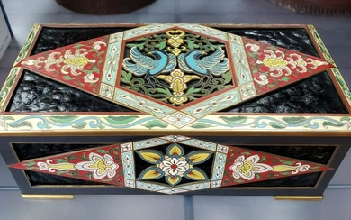 Circa 1890 French Cloisonne and Pressed Amber Gilt